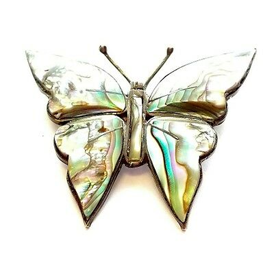 (cz51) Mexico Abalone Steling Silver Butterfly Brooch