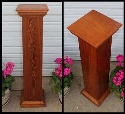 Antique Mission Pine Wood Square Column Fern Plant Stand For Cabin Home Office