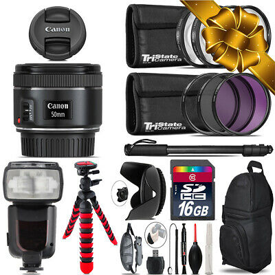 Canon EF 50mm f/1.8 STM Lens + Professional Flash & More - 16GB Accessory Kit