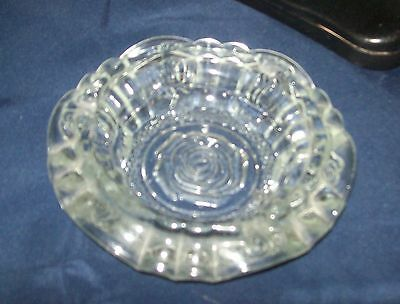 vintage indonesia CLEAR GLASS ASH TRAY with rose pattern