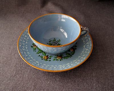 Antique 1930's Hand Painted Molaroni Pesaro Italy Pottery Cup & Saucer  #2