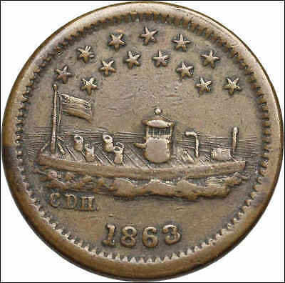 Patriotic Civil War Token CWT, 1863, OUR NAVY, The Monitor