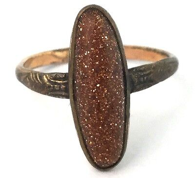 Antique Victorian Ring Goldstone Glass Cabochon Size 6.5 Jewelry