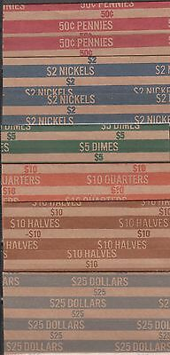 15 Coin Wrappers, You Choose, Penny, Nickel, Dime, Quarter, 1/2 $, $ You Want