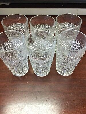 """6 Vintage Anchor Hocking Wexford Tea Glasses 5 1/2"""" Tall"""