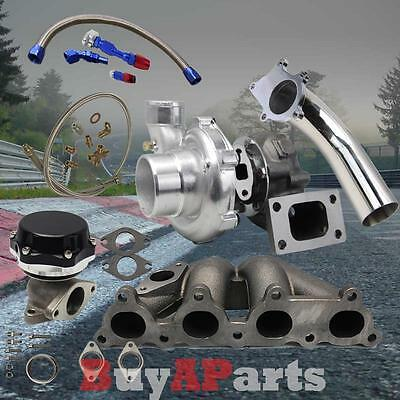 T3/t4 Turbo+Manifold+Black Wastegate+Oil Feed Return Line+Downpipe For D-Series
