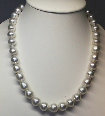 AUST 15mm!! SOUTH SEA PEARL NECKLACE 100% UNTREATED COLOUR+18ct GOLD CLASP+CERT