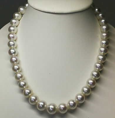 WHITE SOUTH SEA 15.7mm!! PEARLS NECKLACE 100% UNTREATED COLOUR +18ct GOLD CLASP