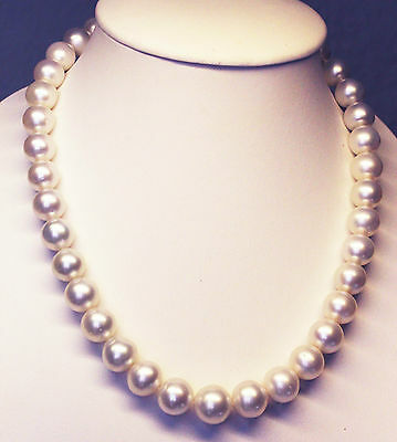 SOUTH SEA PEARLS 15.3mm!! NECKLACE 100% UNTREATED COLOUR +18ct GOLD CLASP +CERT