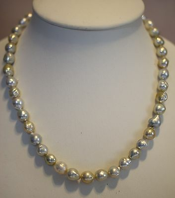 NECKLACE AUST SOUTH SEA PEARLS 12.3mm! 100% UNTREATED COLOUR+18ct GOLD CLASP