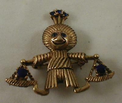 "Ancient Figure Gold With Blue Stones Pin Vintage 10.3 Gram 1 5/8"" Broach"