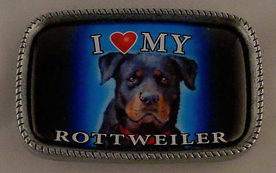 I Love My ROTTWEILER Antique Silver Belt Buckle USA MADE