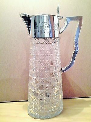 Sterling Silver Cut Glass Claret Wine Jug Blackpool Lawrence Wright North Pier
