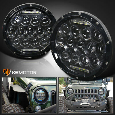 "2X 7"" Round 75W LED Headlights Hi/Low Sealed Beam For Jeep Wrangler TJ JK"
