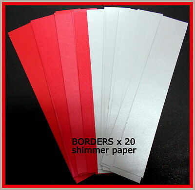 20 *shimmer Paper Borders -Red & Silver* - Scrapbooking/cardmaking/papercrafts