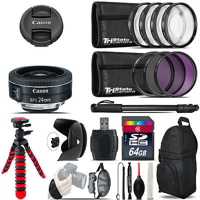 Canon EF-S 24mm f/2.8 STM Lens + Macro Filter Kit & More - 64GB Accessory Kit