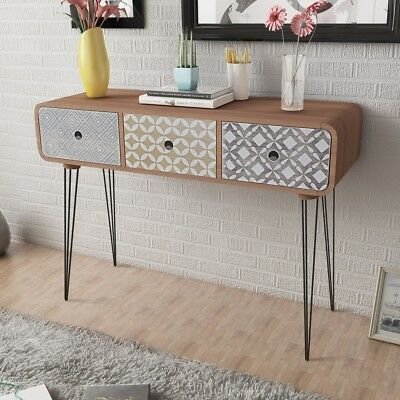 MDF Side Cabinet Console Table w/ 3 Drawer Steel Legs Hallway Display Desk Brown