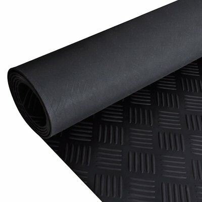 5x1m Black Rubber Flooring Mat Rug Carpet Checker Plate Anti Slip Home Outdoor