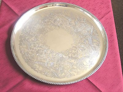 Vintage Barker & Ellis 13 1/2 Inch Round Silver Plated Serving / Drinks Tray