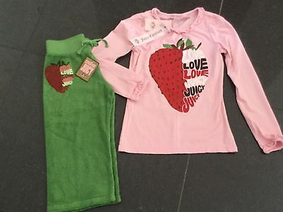 NWT Juicy Couture New & Gen. Girls Age 8 Green Cotton Track Pants & T-Shirt