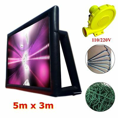 Giant Inflatable Movie Screen Outdoor Backyard Projector + 220V Air Pump Blower