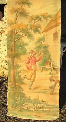 ANTIQUE FRENCH 19THc PRINTED & PAINTED LINEN/HEMP SCREEN PANEL COUNTRY DRUNK!