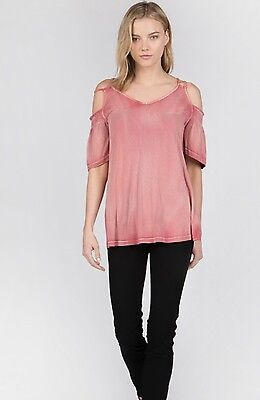d7f3f3e05fe47 NWT Boutique Designer Raspberry Pink Cold Shoulder w Double Straps Top Hot  S M L