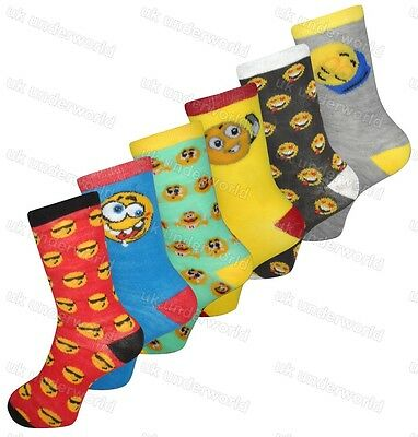 6 Pairs Children Girls Boys Emoji Socks Emotions Character Smile Faces