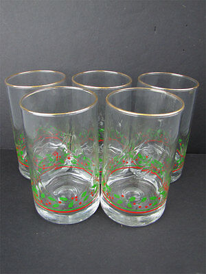 5 1982-84 Arby's Christmas Collection Holly Glasses
