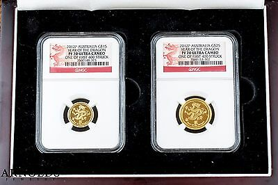 2012 Australia Year of the Dragon 1/10 & 1/4 Oz Gold PF70 NGC - Matched Serials!