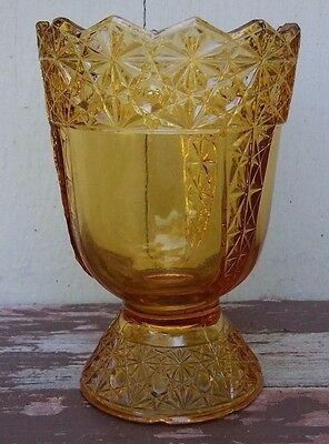 McKEE - QUEEN - ANTIQUE EAPG AMBER GLASS SPOONER - DAISY & BUTTON
