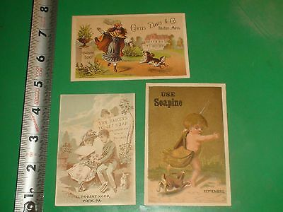 ZU722 Vintage LOT of 3 Victorian Trade Cards Advertising Soap