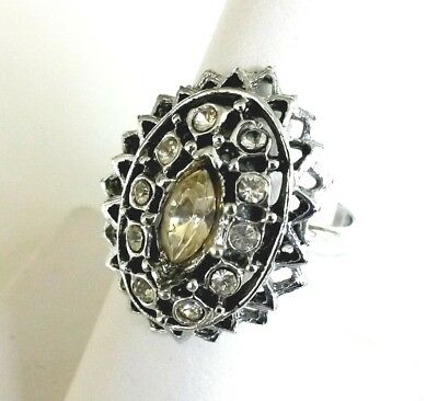 Vintage Clear Rhinestone Silver Tone Cluster Ring Adjustable Size 6.5