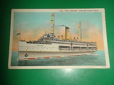 ZT659 Vintage Postcard Steamer Steam Ship Catalina Island California