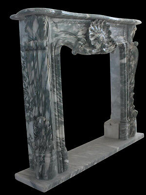 Hand Carved French Design Marble Fireplace Mantel, Nice Full Shell Carving