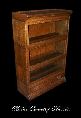 Antique Golden Oak Gunn Three Section Barrister Bookcase with Drawer