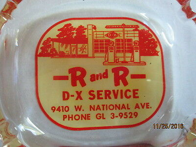 Vintage R And R  D-X Service  Glass Ashtray- N.o.s.