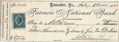 Antique Check 1883   Farmers National Bank, Lancaster, Pa  W/stamp