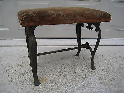 Antique Cast Iron Ornate Bench Stool Sea Shell Motif Vanity Piano Sewing Machine