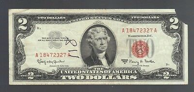 $2 Dollar 1963 RED SEAL OLD USA Legal Tender Note United States Paper Money Bill
