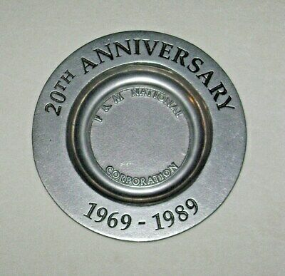 1969-1989 F&M National Corporation 20th Anniversary Aluminum Metal Trinket Tray