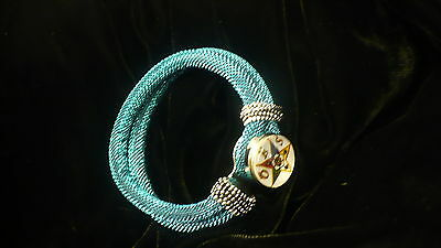 Eastern Star white cord & bead bracelet OES NEW BABY BLUE SNAP BEAD
