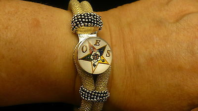 Eastern Star cord & bead bracelet OES NEW GOLD SNAP BEAD