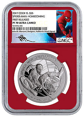 2017 Marvel Spider-Man Homecoming 1oz Silver $1 Red NGC PF70 UC FR SKU48301