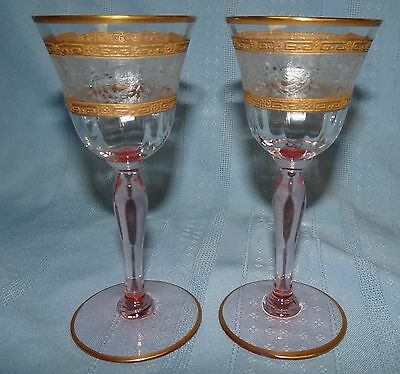 "2 Tiffin Pink Stem Etched Rose Gold Encrusted 5 1/2"" Cordial Wine Glass Set"