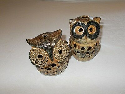 Decorative glazed ceramic pottery owl shaped pair candle covers used nice