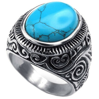 MENDINO Men's Stainless Steel Ring Classic Oval Turquoise Band Biker Silver Blue