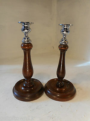 pair of Vintage Oak Candlestics  ref 2784