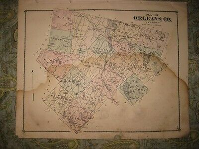 Antique 1878 Orleans County Vermont Map Albany Newport Coventry Irasburg Glover