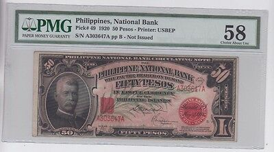 Philippines $50 1920 PMG Graded choice about unc 58